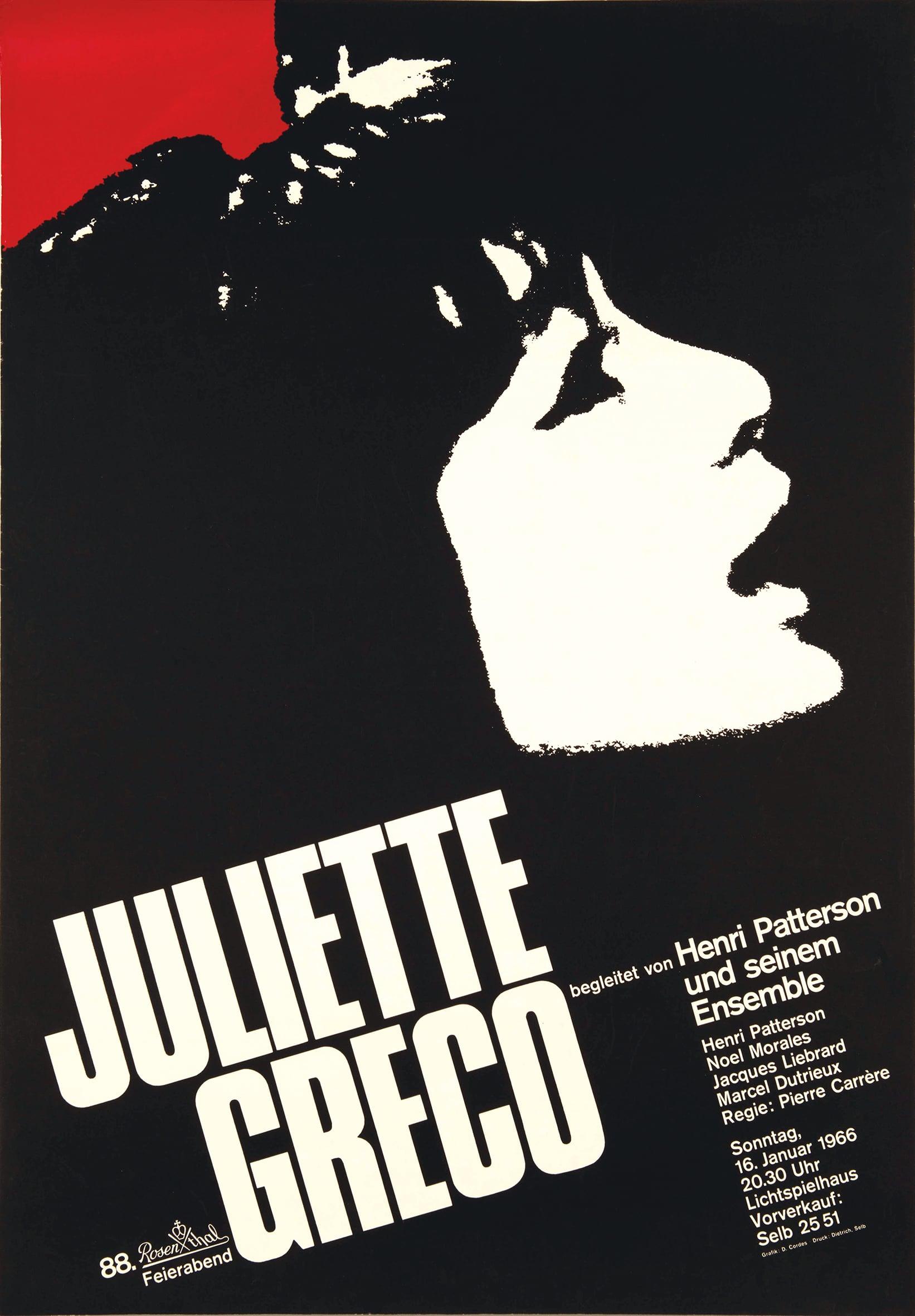 Plakat mit Konterfei von Juliette Greco.