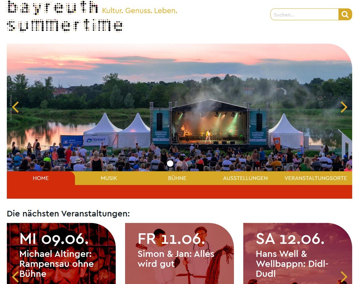 Screenshot der Website Bayreuth Summertime