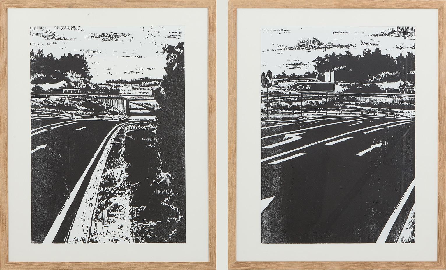 "Holzschnitt ""Autobahn 1"" und ""Autobahn 2"""