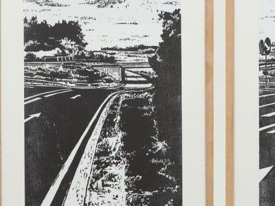 """Holzschnitt """"Autobahn1"""""""