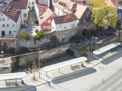 Blick auf die Stadtmauer von oben