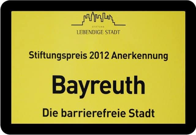 Auszeichnung Bayreuth - Die barrierefreie Stadt
