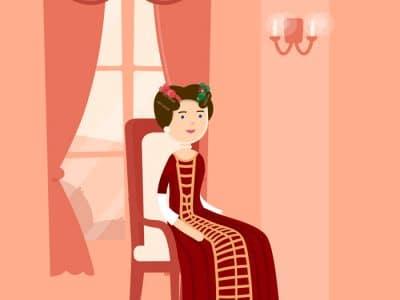 Markgräfin Wilhelmine sitzt als Zeichentrickfigur auf einen Stuhl.
