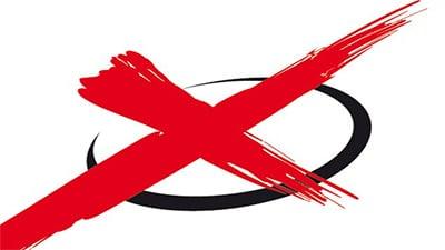 schwarzer Kreis mit rotem Kreuz