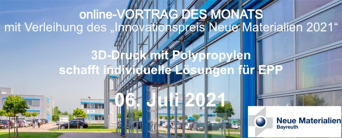 """online- VORTRAG DES MONATS mit Verleihung des """"Innovationspreis Neue Materialien 2021"""""""