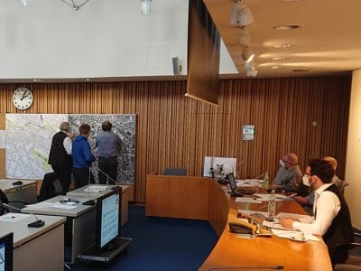 Workshop im Sitzungssaal des Rathauses.