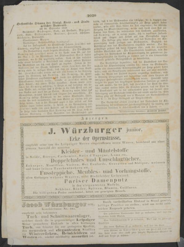 Werbeanzeigen der Schnittwarengeschäfte J. Würzburger junior und Jacob Würzburger senior. Die Anzeigen listen das breite Sortiment der Händler an Stoffen und Kleidungsstücken auf.