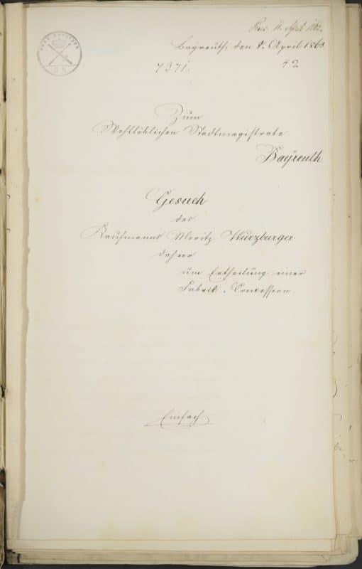 Am 8. April 1863 verfasste der Anwalt Dr. Arnheim ein Gesuch um eine Fabrikkonzession für Moritz Würzburger. Aus diesen Seiten geht hervor, dass Moritz sein Geschäft nicht mehr für zeitgemäß hielt. Er meinte, es müsse seinen Handel durch die fabrikmäßige Produktion fertiger Kleidungsstücke ergänzen, wenn er sich nicht von der Zeit überholen lassen wollte.