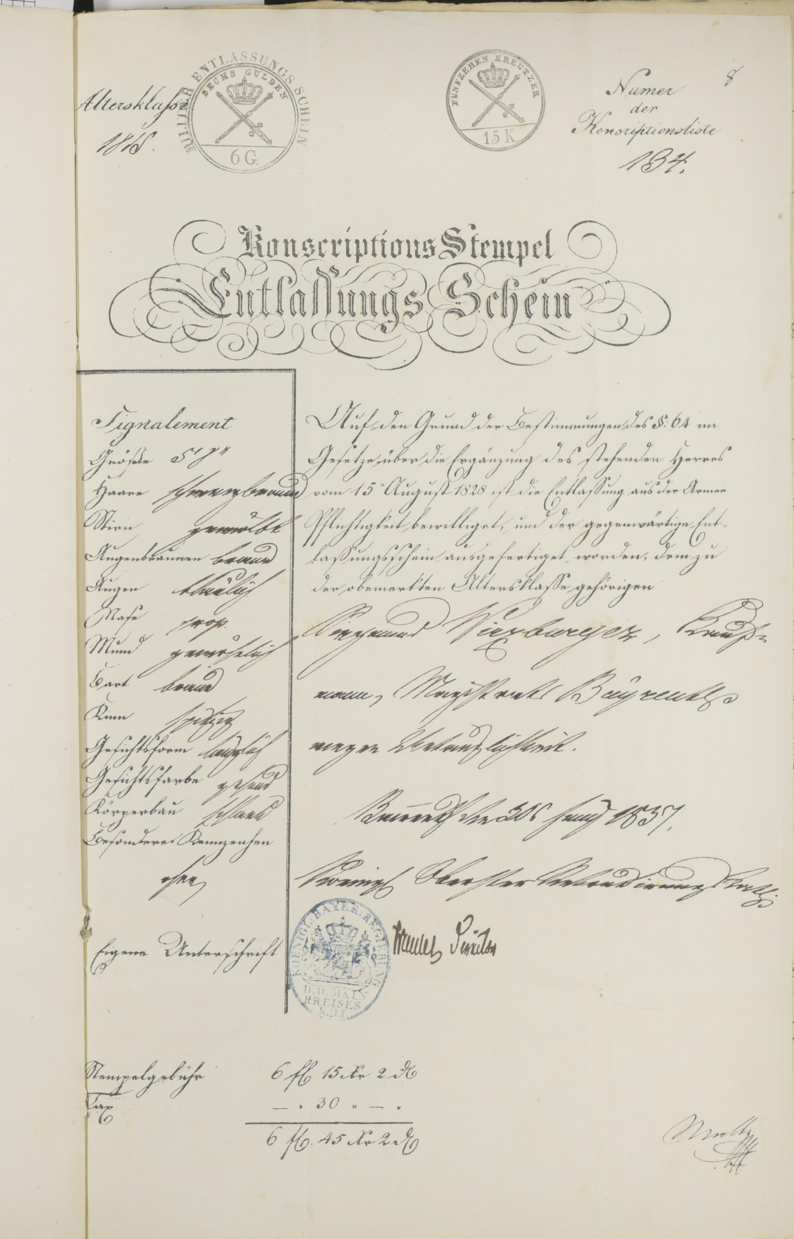 Zu den Unterlagen, die Siegmund seinem Gesuch beifügen musste, gehörte auch ein Nachweis darüber, dass er von der Militärpflicht befreit war. Auf der linken Seite dieses Militärentlassungsscheins ist Siegmunds Aussehen genau festgehalten.