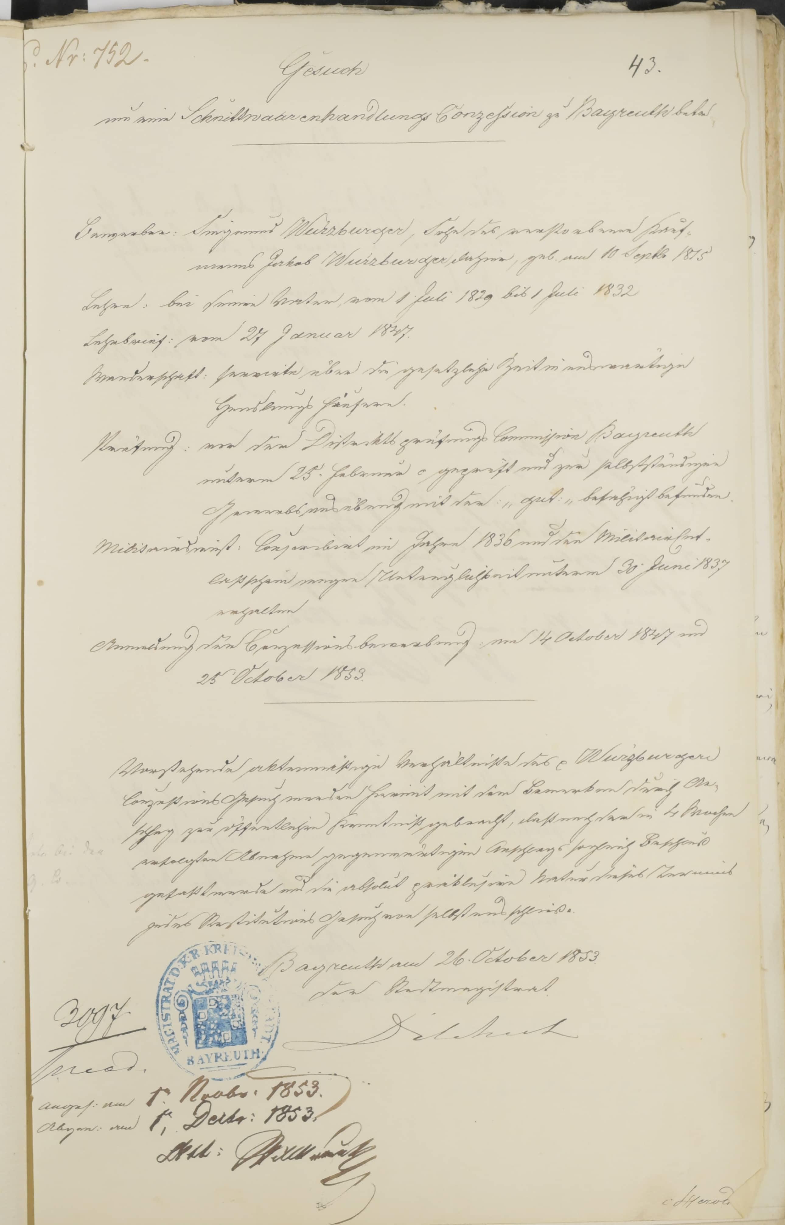 Eine Zusammenfassung von Siegmunds Konzessionsgesuch aus dem Oktober 1853. Der Stadtmagistrat erfasste in diesem Protokoll alle wichtigen Daten zum Bewerber, seiner Lehre, Wanderschaft, Gewerbeprüfung und Militärdienst.