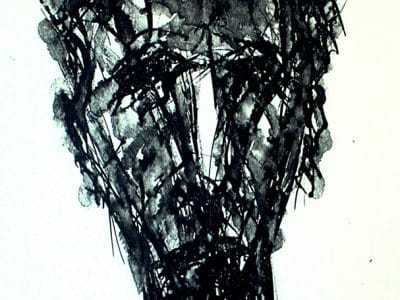 Schwarz-weiße Litographie, die den Kopf eines Mannes zeigt